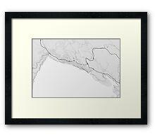 Varna, Bulgaria Map. (Black on white) Framed Print