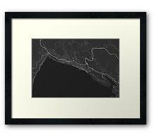 Rijeka, Croatia Map. (White on black) Framed Print