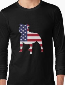Pitbull American Flag 4th July Patriotic T-shirt  Long Sleeve T-Shirt