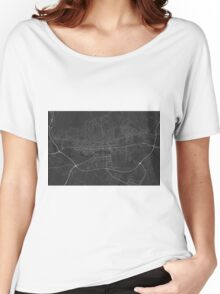 Zagreb, Croatia Map. (White on black) Women's Relaxed Fit T-Shirt