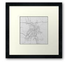 Nicosia, Cyprus Map. (Black on white) Framed Print