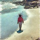 Woman Walking on the Beach PEI by Edward Fielding