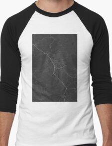 Liberec, Czech Republic Map. (White on black) Men's Baseball ¾ T-Shirt
