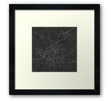 Ostrava, Czech Republic Map. (White on black) Framed Print