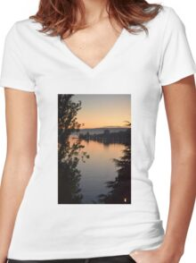 Sunset over the lake Women's Fitted V-Neck T-Shirt