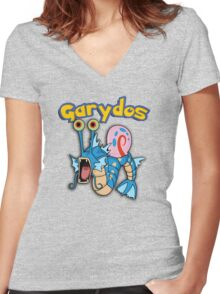 Gary the snail and Gyarados  mashup = Garydos Women's Fitted V-Neck T-Shirt