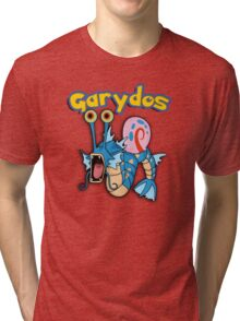 Gary the snail and Gyarados  mashup = Garydos Tri-blend T-Shirt