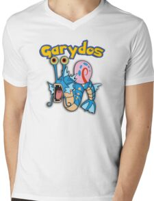 Gary the snail and Gyarados  mashup = Garydos Mens V-Neck T-Shirt