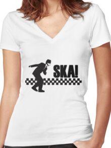 Ska Music Stencil Women's Fitted V-Neck T-Shirt