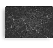 Prague, Czech Republic Map. (White on black) Canvas Print