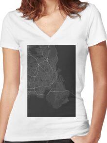 Copenhagen, Denmark Map. (White on black) Women's Fitted V-Neck T-Shirt