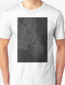 Copenhagen, Denmark Map. (White on black) Unisex T-Shirt