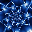 Electric Blue Spiral Fractal  by Kitty Bitty