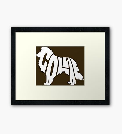 Collie White Framed Print