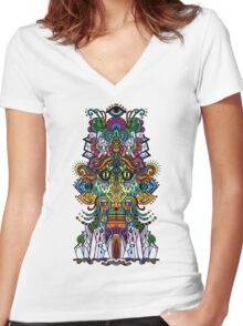 psychedelic illustration Women's Fitted V-Neck T-Shirt