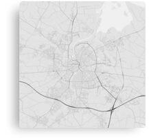 Odense, Denmark Map. (Black on white) Canvas Print