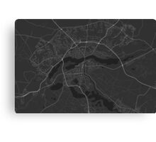 Silkeborg, Denmark Map. (White on black) Canvas Print