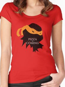 Pizza is Coming Women's Fitted Scoop T-Shirt