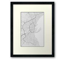 Aarhus, Denmark Map. (Black on white) Framed Print