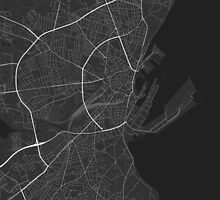 Aarhus, Denmark Map. (Black on white) by Graphical-Maps