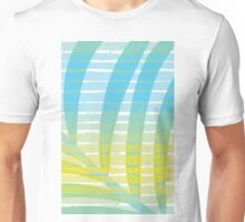 Palm Leaf Shadow on Tropical Striped Screen  Unisex T-Shirt