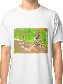 Family cycling on a dirt track Classic T-Shirt