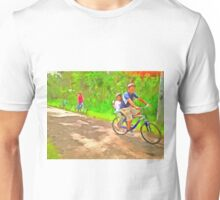 Family cycling on a dirt track Unisex T-Shirt