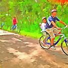 Family cycling on a dirt track by ashishagarwal74