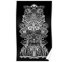 psychedelic illustration in black Poster