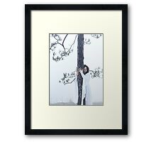 Woman in white dress hugging a tree art photo print Framed Print