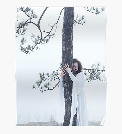 Woman in white dress hugging a tree art photo print Poster