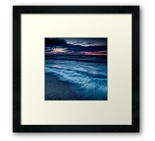 Beautiful dramatic dusk nature scenery of lake Huron Grand Bend art photo print Framed Print