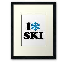 I love Ski snow Framed Print