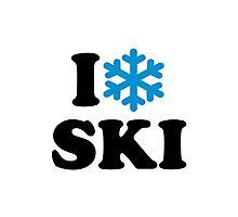 I love Ski snow Photographic Print