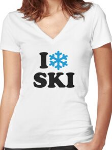 I love Ski snow Women's Fitted V-Neck T-Shirt