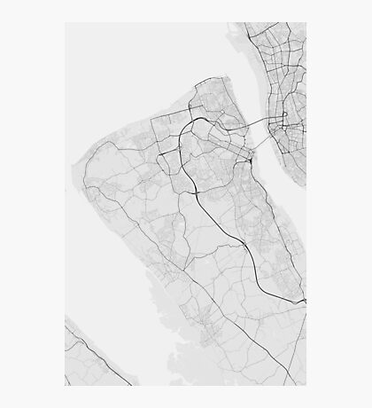Birkenhead, England Map. (Black on white) Photographic Print