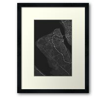 Birkenhead, England Map. (White on black) Framed Print