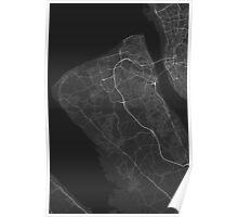 Birkenhead, England Map. (White on black) Poster