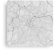 Birmingham, England Map. (Black on white) Canvas Print