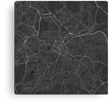Birmingham, England Map. (White on black) Canvas Print