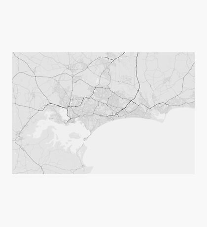 Bournemouth, England Map. (Black on white) Photographic Print