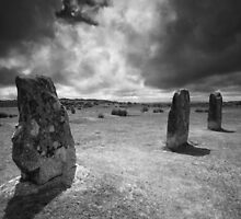 The Hurlers- Bodmin Moor BW by Angie Latham