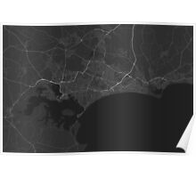 Bournemouth, England Map. (White on black) Poster