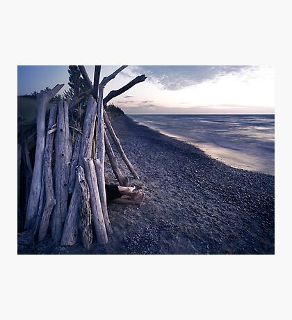 Couple in driftwood shack at the beach art photo print Photographic Print