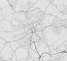 Bradford, England Map. (Black on white) by Graphical-Maps