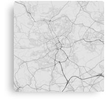 Bradford, England Map. (Black on white) Canvas Print