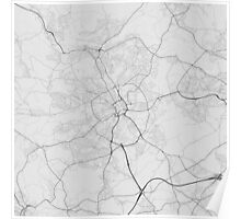 Bradford, England Map. (Black on white) Poster