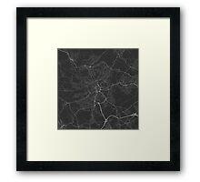 Bradford, England Map. (White on black) Framed Print