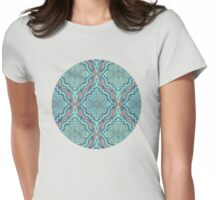 Marker Moroccan in Aqua, Cobalt Blue, Taupe & Teal Womens Fitted T-Shirt