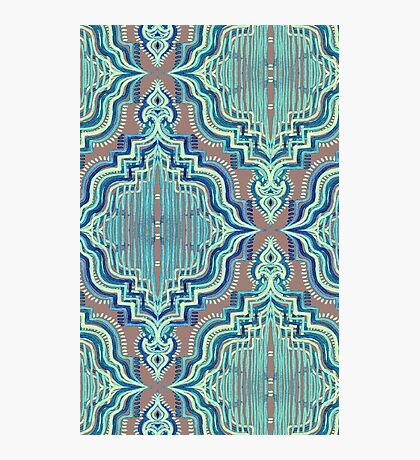 Marker Moroccan in Aqua, Cobalt Blue, Taupe & Teal Photographic Print